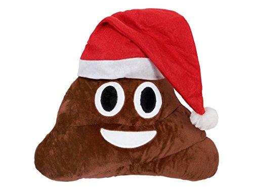 emoji ki en poo Emoji Kissen Poo Weihnachtsmann Nikolaus (ki-49) Geschenkidee 33 cm Durchmesser, liebevolles Design - Weihnachten von Alsino