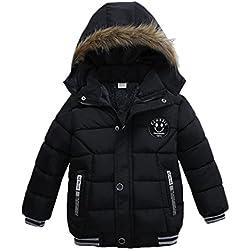 K-youth® Ropa Niño Invierno Sudadera con capucha Abrigo De Algodón Engrosamiento Chaqueta (Negro, 3 años)