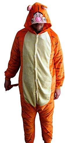 GW Handels UG Flannel Kostüm Tiger Damen Herren Kinder Karnevalskostüm Faschingskostüm Verkleidung Fleece Overall Erwachsene Größe XL (Tigger Der Tiger Kostüm)