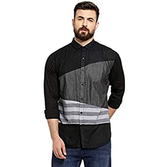 Campus Sutra Men's Full Sleeve Color Block Casual Spread Shirt (Black, Charcoal, Grey, Small)