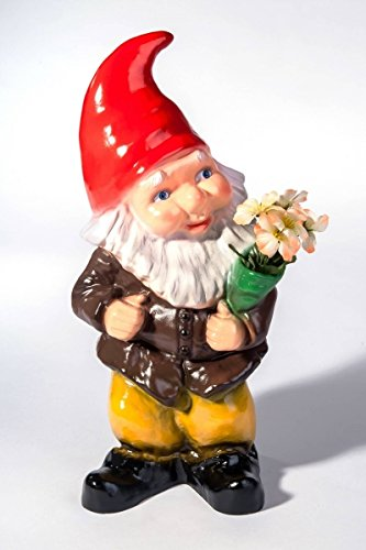 123 Nain De Jardin - Nain De Jardin Lumineux Et Son Bouquet De Fleurs
