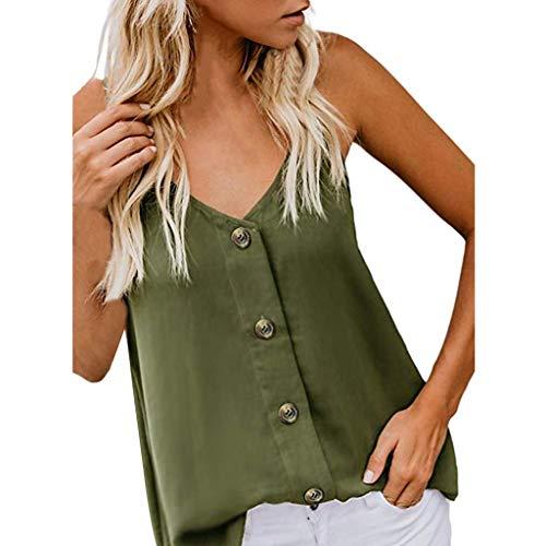 Yvelands Mode Damen Tank Top Weste Ärmelloses Hemd Bluse Lässige T-Shirt(Grün,CN-M)