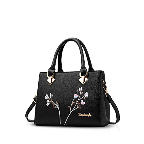 NICOLE&DORIS Retro Frauen Top Handle Handtaschen Tote Geldbörse Schultertasche Crossbody Tasche PU Leder Schwarz (Tote Long Double Handle)
