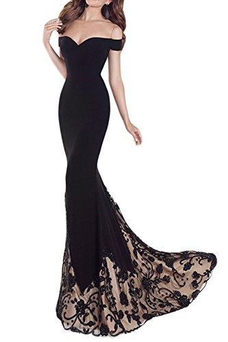 Le Donne Eleganti Da Spalla Slim Bronzatura Mosaico Sera Sirena Vestito Black