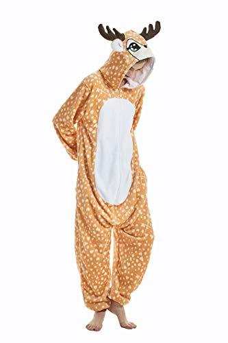 Kostüm Männer Hirsch - DAKYAM Einteiler für Erwachsene, Unisex, Tier-Einteiler, Cosplay-Kostüm, Einteiler, Nachtwäsche, Jumpsuit für Männer und Frauen Gr. Small, REH/Hirsch