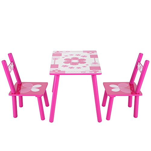 Tisch und Stühle für Kinder, Set aus Holz, mit Blumenmuster, zum Spielen und Lernen