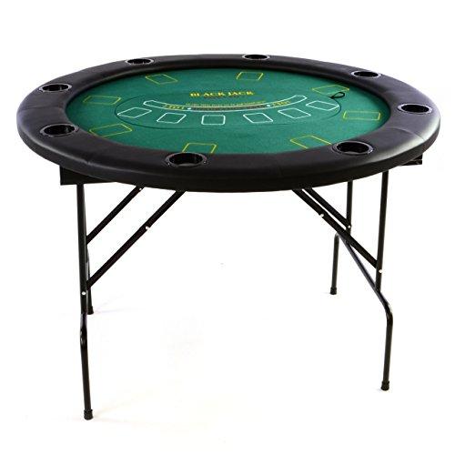 okertisch klappbar Rund Ø 120 cm; 4 in 1 Spiele: Poker, Roulette, Black Jack, Craps inkl. Karten, 100 Chips und Zubehör ()
