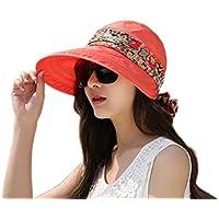 Dosige Sombrero de Playa Ajustables de lino Tela Plegable Gorro de Ribbon  con proa de Ala c5c42a9b05c