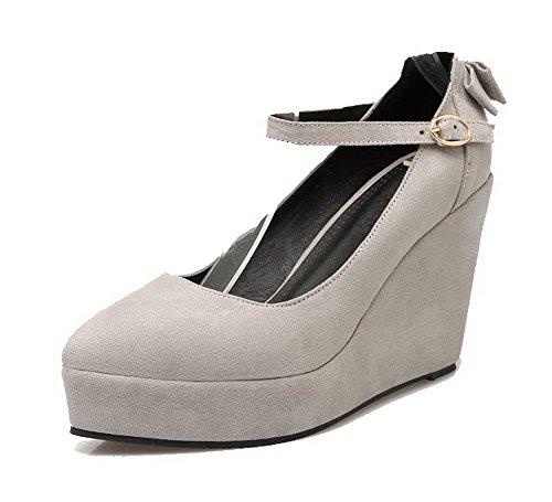 VogueZone009 Damen Nubukleder Hoher Absatz Spitz Zehe Rein Schnalle Pumps Schuhe Grau