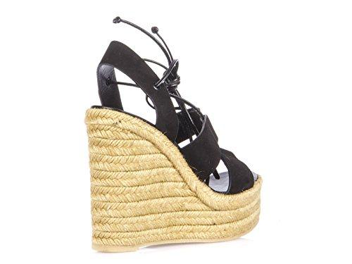 Sandales compensées Saint Laurent en peau retournée noir - Code modèle: 416424 C2000 1000 Noir