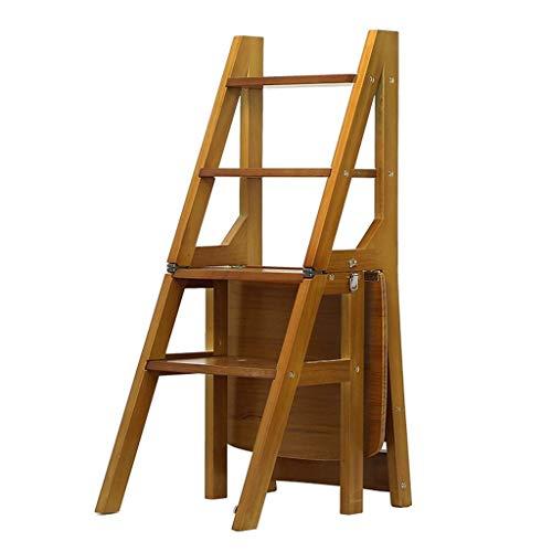 FOLDTAC Klappbarer Tritthocker, 4-stufiger Leiterhocker aus Holz, rutschfest, multifunktionales Schlafzimmer im Freien, Wohnzimmer 36,5 x 46,5 x 90 cm -