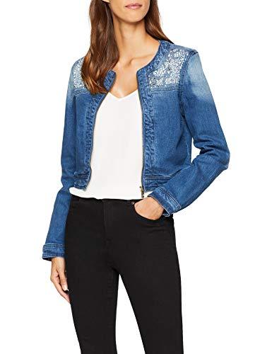 Oodji ultra donna giacca in jeans con decorazioni metalliche, blu, it 44 / eu 40 / m