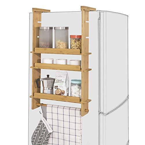 SoBuy KCR03-N Design Hängeregal für Kühlschrank Gewürzregal mit 3 verstellbaren Ablagen Küchenregal aus Bambus Natur BHT ca: 42x73x10cm -