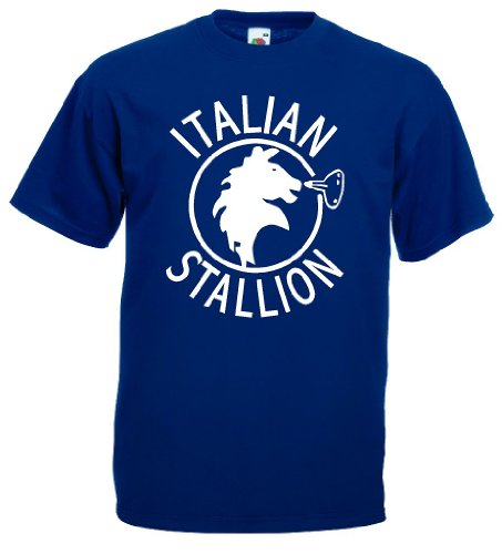 world-of-shirt Italian Stallion Herren T-Shirt Trikot|marine L