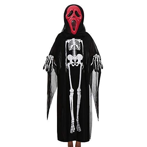 GOKOMO Männer und Frauen, Skelett Ghost Kleidung Mantel + Horror-Maske + Handschuhe drei Stück Halloween Cosplay Set Eltern-Kind-Kostüme schwarz (Chucky Girl Kostüm)