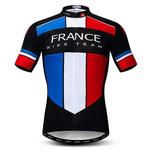 Weimostar Radfahren Jersey Herren Radfahren Kleidung Fahrrad Jersey Top Mountain Road MTB Jersey Shirt Kurzarm Atmungsaktive Team Sport Frankreich Multi Größe M