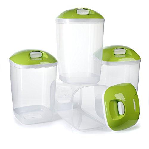 Paquete de 4 contenedores de plástico para cereales libres de BPA, contenedores herméticos para arroz y pasta - 2 Lts