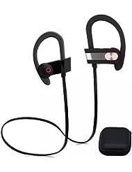 natural Life Running Mate portátil estéreo deporte inalámbrico auriculares 4.1, In-Ear Headset con micrófono sudor para Gym Correr, compatible para iPhone Android con bolsa, gris