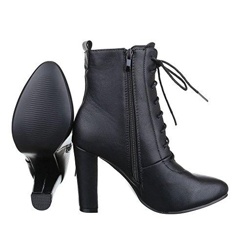313a401ea9411 Ital-Design High Heel Stiefeletten Damen Schuhe Schlupfstiefel Pump Schnürer  Reißverschluss Stiefeletten Schwarz ...