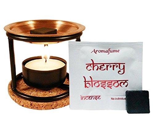 Aroma-Diffusor mit Kupferplatte, Räucherwerk, Teelicht und Untersetzer