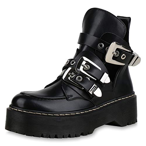 Silber Schnalle Stiefel (SCARPE VITA Damen Stiefeletten Plateau Boots Cut Out Ankle Booties Schnallen 173338 Schwarz Silber 40)