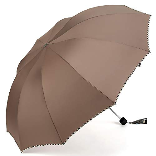 Beige Glasschirm (Jian E Regenschirm Super Large Männer und Frauen Studenten DREI Falten Sonnenschutz UV-Sonnenschutz mit doppeltem Verwendungszweck (Farbe : Beige))