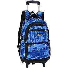 99826afaf76ae Backpack Grundschule Schüler Trolley School Bags - Abnehmbar Trolley  Schultaschen mit Zwei Rädern für Jungen Kinder