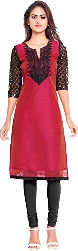 Twinkal Women's Chanderi Silk Straight Kurta / Kurti (TWKR0259_L, Red, L)  available at amazon for Rs.690