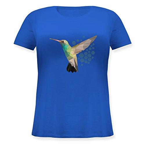 Vögel - Colibri - Lockeres Damen-Shirt in großen Größen mit Rundhalsausschnitt Blau