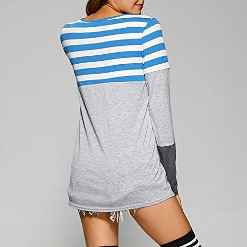 Robe de chemise, FEITONG Femmes Grande taille Bande En vrac Chemise Arrêtez-vous Manche longue Tops Chemisier sweat-shirt Bleu