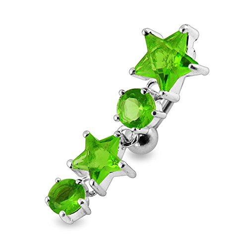 Bijou de Corps Anneau de nombril en argent en forme d'étoiles mobiles avec pierre Light Green