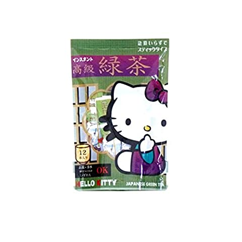 HELLO KITTY - Instant Green Tea (Stick Type) 12pcs. for HOT & COLD from Shizuoka Japan