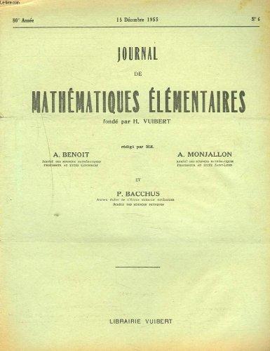 JOURNAL DE MATHEMATIQUES ELEMENTAIRES N°15 DEC. 1955. ECOLE DES HAUTES ETUDES COMMERCIALES, CONCOURS DE 1955.