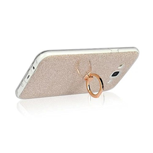 Luxus Bling Sparkle Style Case, Soft TPU [Silikon] Flexible Glitter Back Cover mit Fingerring Stand für Samsung Galaxy J7 2015 ( Color : White ) Gold