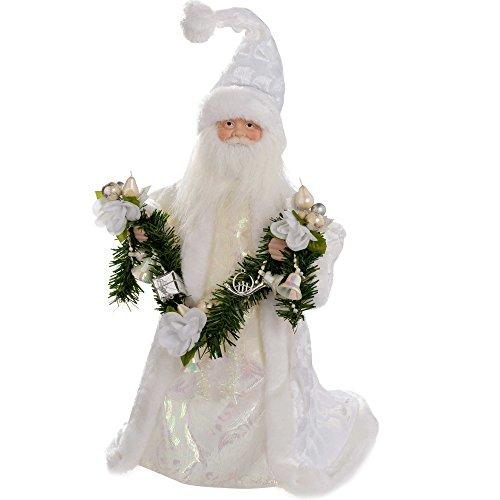 Babbo Natale 40 Cm.Werchristmas Puntale Per Albero Di Natale A Forma Di Babbo Natale 40 Cm Colore Argento Bianco