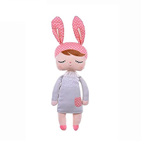 Fancyus 13'' Metoo Angela Sleeping Bunny Rabbit Girl Baby Stuffed Plush Dolls Toys, Pink Ears with Grey
