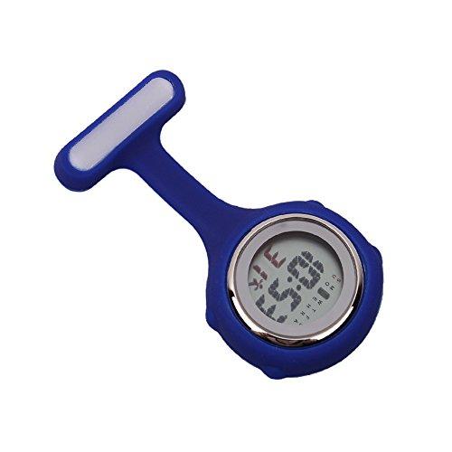 Digital Silikon Schwesternuhr Krankenschwesteruhr Pflegeuhr Taschenuhr (Blau)