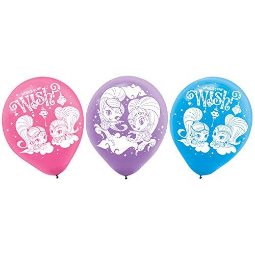 Amscan 9902164 6 Latexballons Shimmer & Shine, Pink/Lila/Blau (Halloween-kostüme Cool Duo)