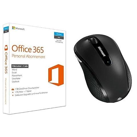 Microsoft Office 365 Personal - 1 PC/MAC - 1 Jahresabonnement + Microsoft Wireless Mobile Mouse 4000 graphite / grau