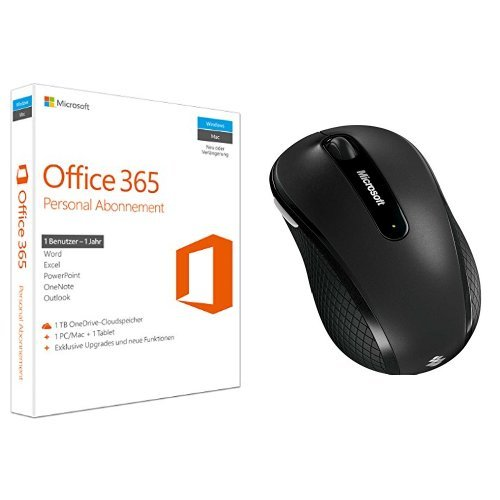 Microsoft Office 365 Personal - 1 PC/MAC - 1 Jahresabonnement + Microsoft Wireless Mobile Mouse 4000 graphite / grau