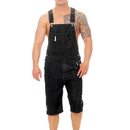 UFACE Herren Jeans Latzhose Skinny Fit Lang Jeanshose Destroyed Denim Overalls Streetwear Hosenträgerhose