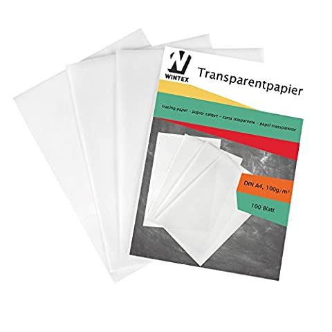 WINTEX Premium A4 Tracing Paper pack of 100 sheets with 100g for tracing and printing | 2 Year Satisfaction Guarantee | set of 100 A4 transparent paper for inkjet printing, tracing, architecture, drawing, graphic design, scrapbooking, 100 pieces DIN A4 trace and transparency