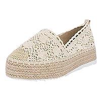 Women's Wedge Shoes,SCIKOU Hollow Platform Casual Shoes Solid Color Breathable Espadrilles Tennis Loafers Bowling Dress Shoes Cowboy Rainy Boots