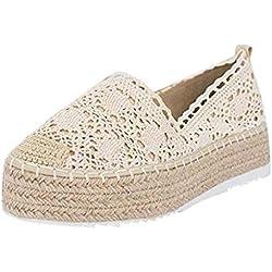 Mode Espadrille Femmes Compensees Décontractée Plat Loafers Chaussures Mode Confort Espadrilles -Blanc, Rose, Noir, Jaune, Rose Vif, Beige- Taille 35-43