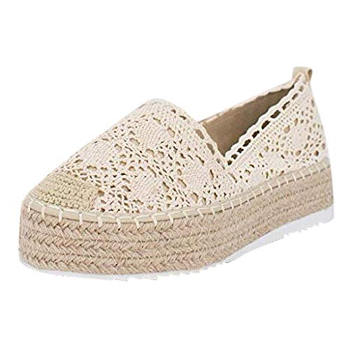 COZOCO Women's Hollow Platform Casual Shoes Solid Color Breathable Wedge Espadrilles Cover Heel Shoes(A-Beige,37 EU)