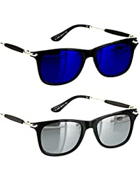 Younky Unisex Combo Pack Of UV Protected Branded Wayfarer Stylish Blue Mercury Sunglasses For Men Women Boys And...