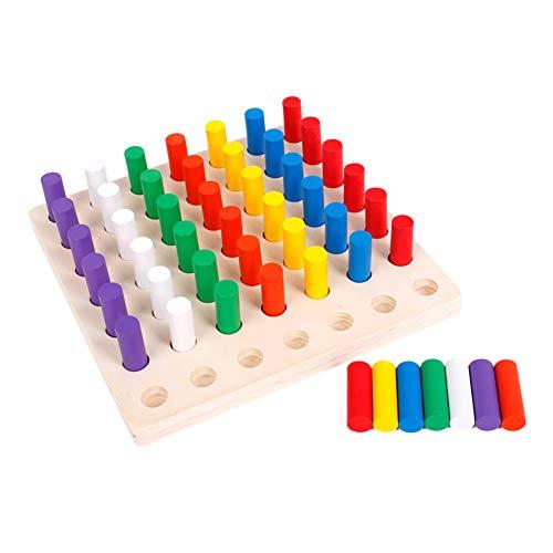 0Miaxudh Blöcke Bord Spielzeug, Holz Zylinder Sockel Blöcke Brettspiel, Farbe Lernen Pädagogische Kinder Spielzeug (Für Kinder Pädagogische Brettspiele)