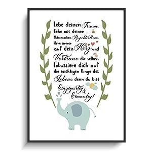 Kinderzimmer Deko DIN A4 Wandgestaltung Elefant Spruch ohne Rahmen Design Herz Wolke Vogel Modern Motivation Gastgeschenk Einschulung Schulanfang