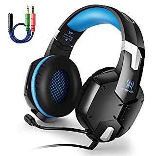 PS4 Gaming Headset,AIZBO Over-Ear Earphone 3.5 MM Stereo Headphone Game Headset with Noise Canceling Mic,50mm Magnetic Neodymium Driver,Volume & Mute Control for PS4 PC Computer Laptop Mobile Phones (Blue)