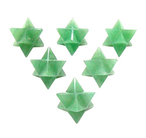 Reviheal TM Aventurine verde Merkaba Crystal Star Geometria Sacra Set, Reiki Healing Energy